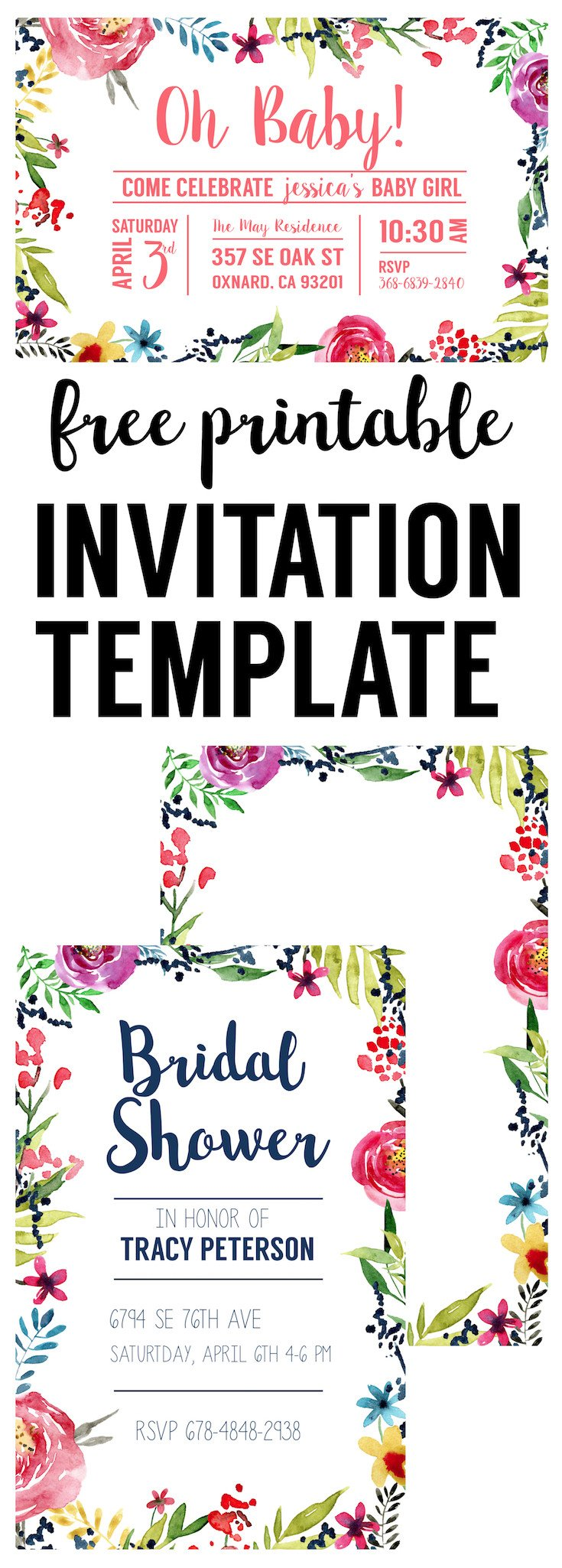 Free Shower Invitation Template Floral Borders Invitations Free Printable Invitation
