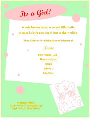 Free Shower Invitation Template Free Printable Baby Shower Invitations for Microsoft Word