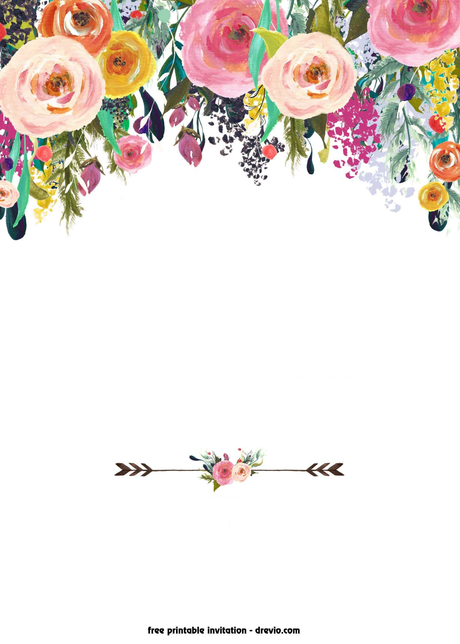 Free Shower Invitation Template Free Printable Boho Chic Flower Baby Shower Invitation