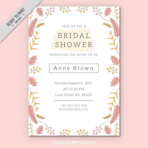 Free Shower Invitation Template Pretty Bridal Shower Invitation Template with Colored
