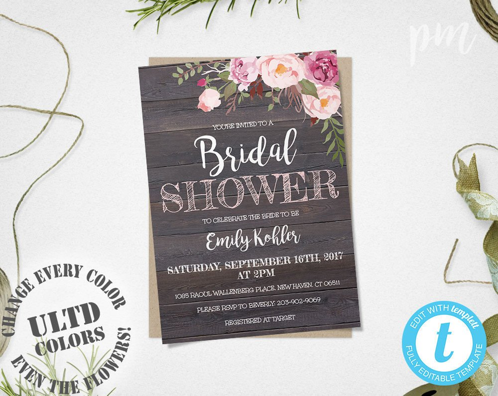 Free Shower Invitation Template Rustic Floral Bridal Shower Invitation Template Printable