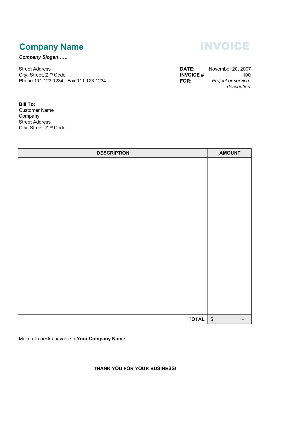 Free Simple Invoice Template 17 Best Photos Of Printable Mercial Invoice Sample