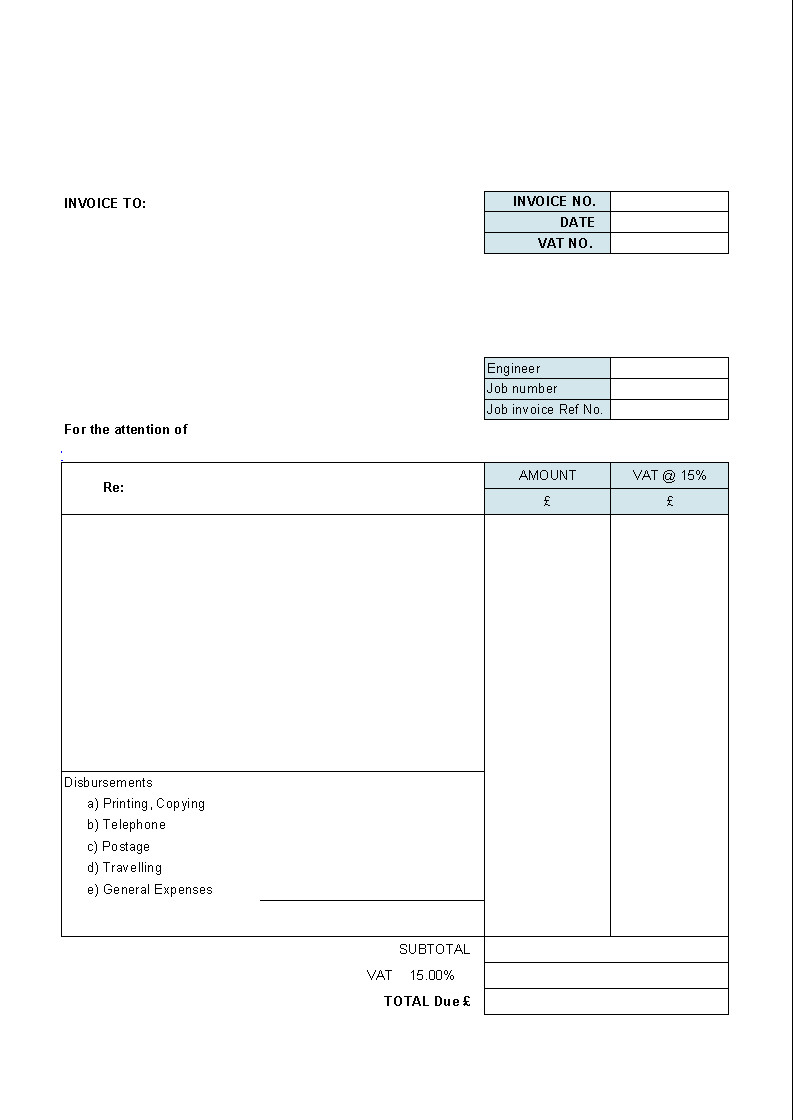 Free Simple Invoice Template Free Blank Invoice Template for Excel Excel Template