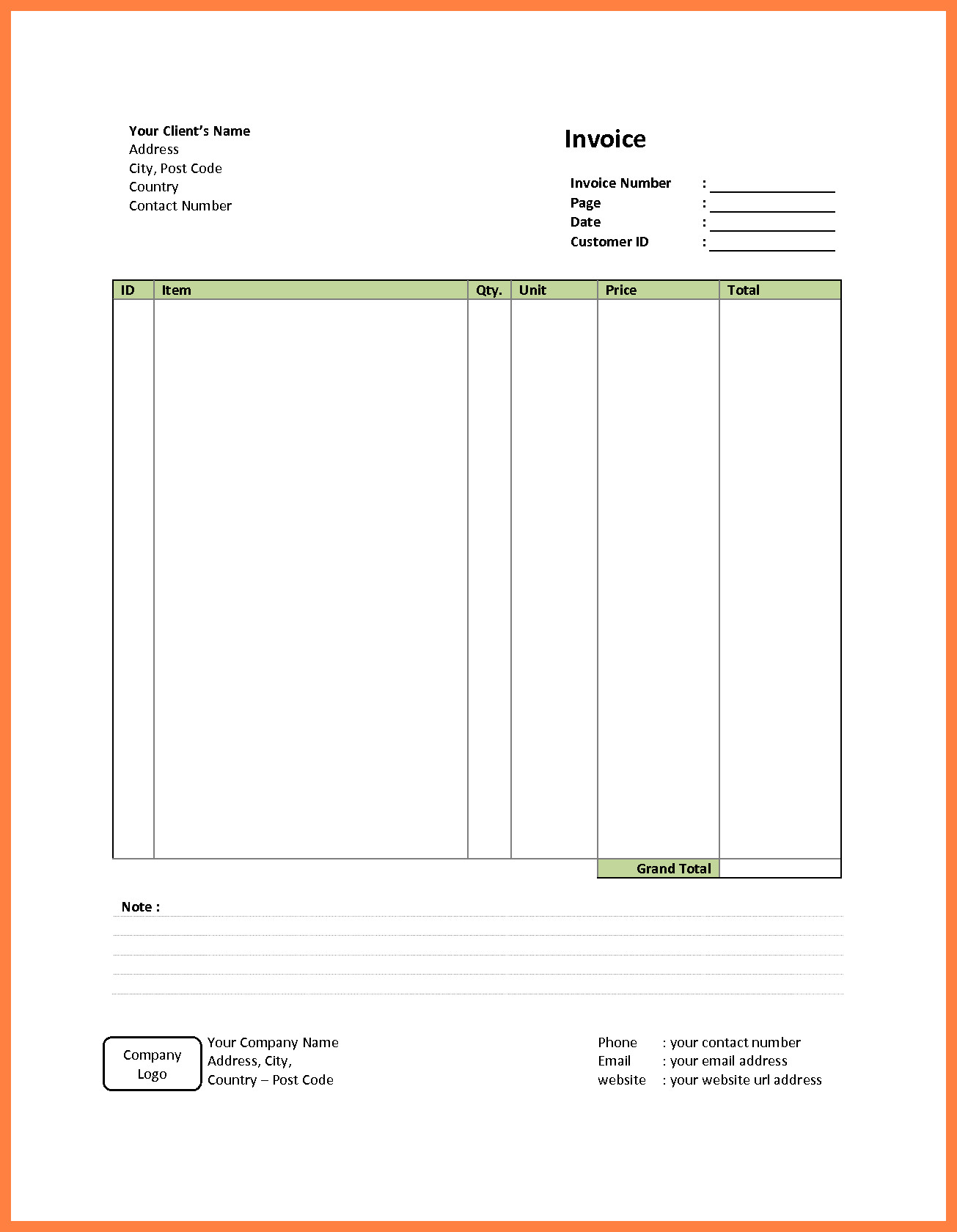 Free Simple Invoice Template Get Invoice Simple