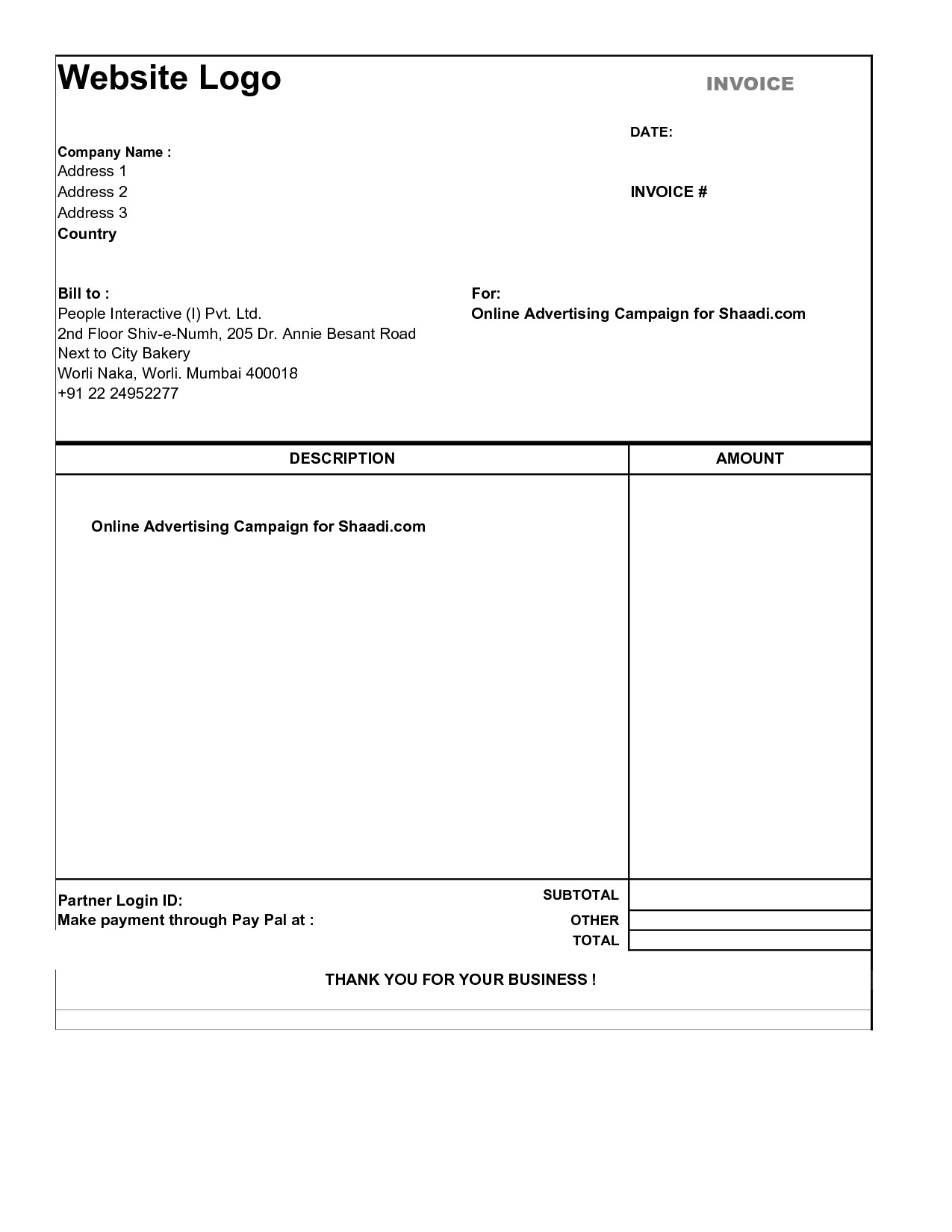 Free Simple Invoice Template Simple Invoice Template Pdf