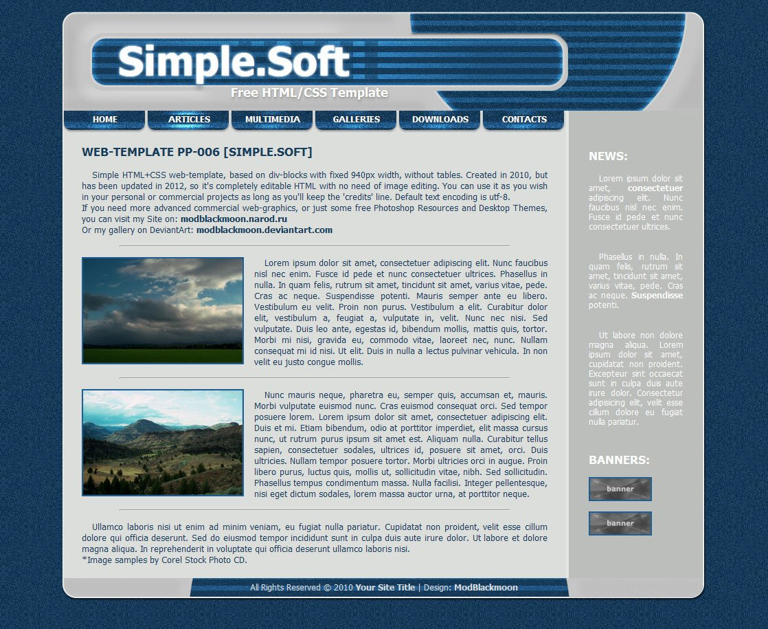 Free Simple Website Templates Modblackmoon