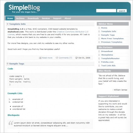 Free Simple Website Templates Simple Blog 1 0 Template Free Website Templates In Css