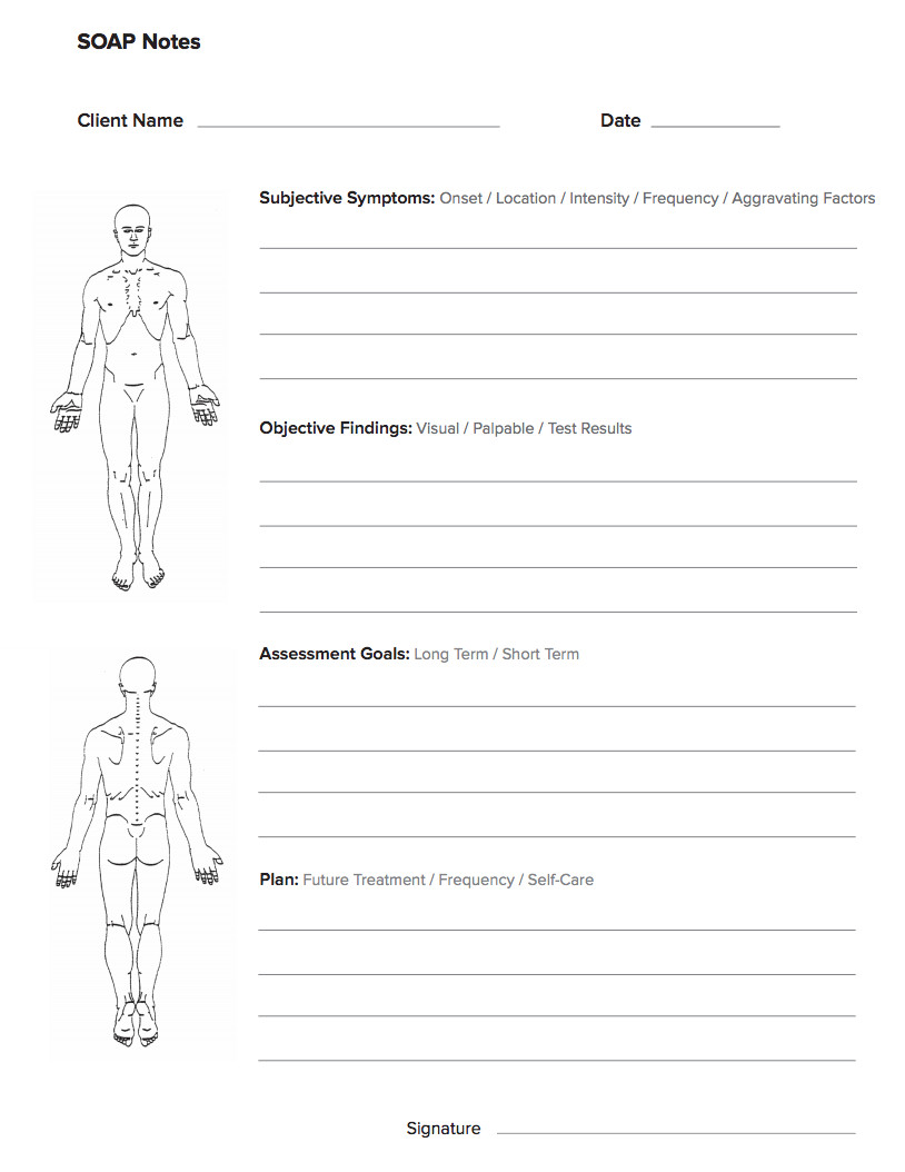 Free soap Note Template Free Massage soap Notes forms Massagebook