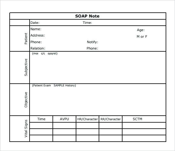 Free soap Note Template soap Note Template Printable Editable Free Download