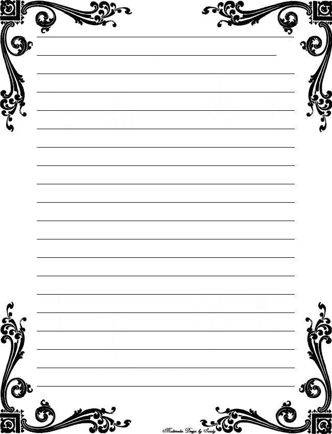 Free Stationery Paper Templates Cute Printable Notebook Paper Black and White