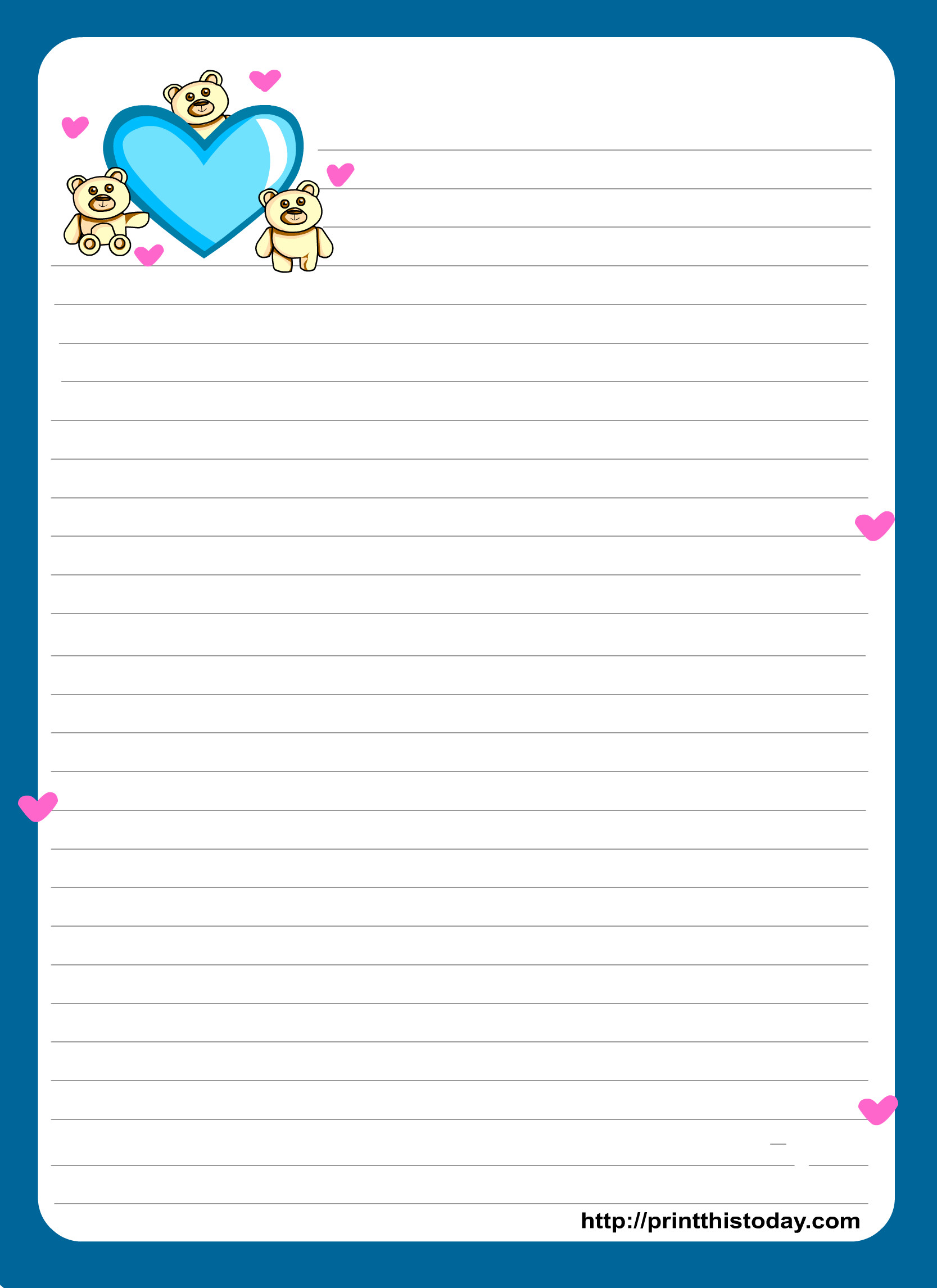 Free Stationery Paper Templates Miss You Love Letter Pad Stationery