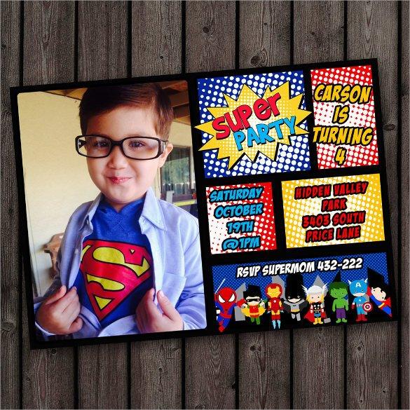 Free Superhero Invitation Template 30 Superhero Birthday Invitation Templates Psd Ai
