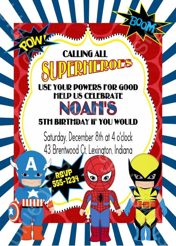 Free Superhero Invitation Template Calling All Superheroes Birthday Party Invitation Boy or
