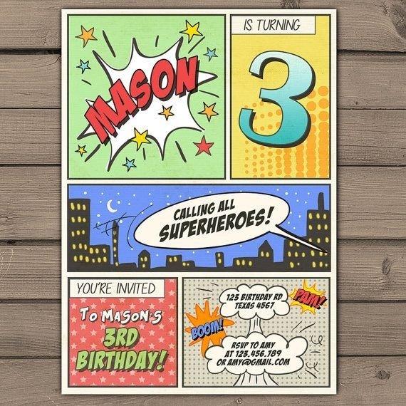 Free Superhero Invitation Template Ic Book Invitation Template Cobypic