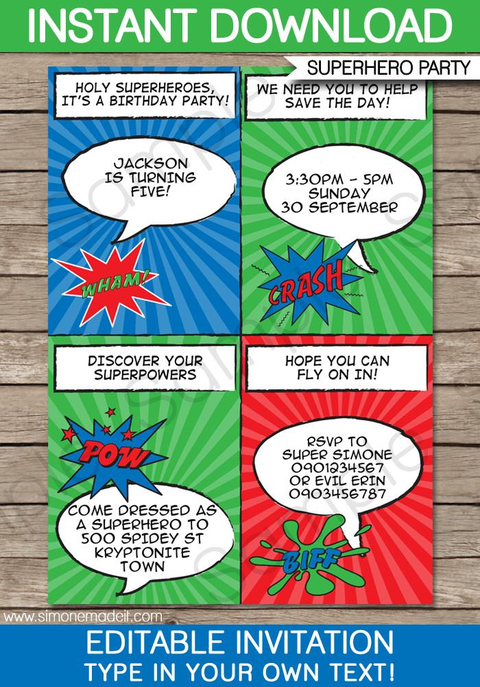 Free Superhero Invitation Template Super Hero Party Invitations Template