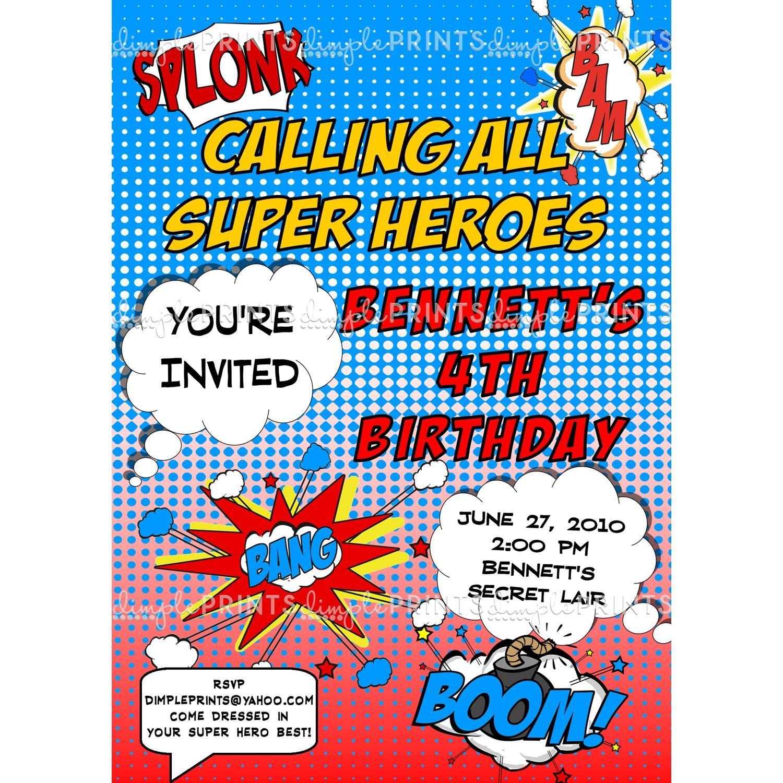 Free Superhero Invitation Template Superhero Ic Printable Invitation Dimple Prints Shop