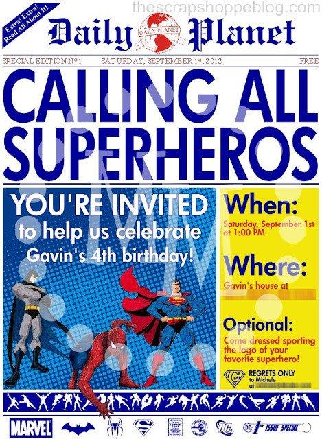 Free Superhero Invitation Template Superhero Newspaper Birthday Invitation the Scrap Shoppe