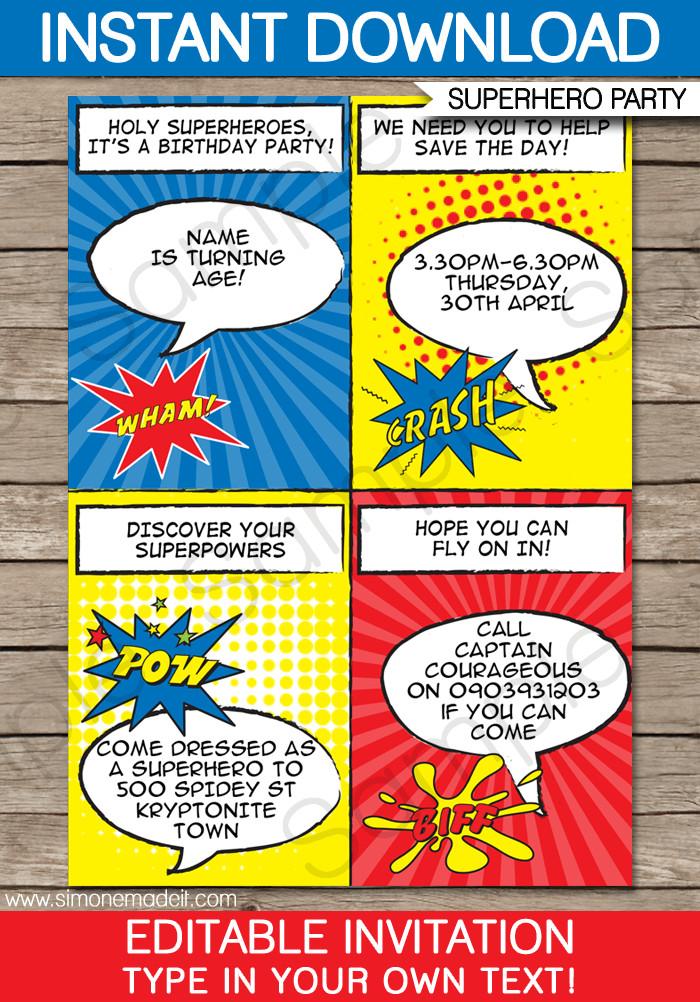 Free Superhero Invitation Template Superhero Party Invitations