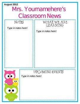 Free Teacher Newsletter Templates Editable Owl themed Newsletter by Middle Grades Maven