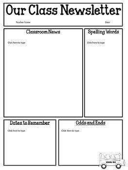 Free Teacher Newsletter Templates Free Editable Classroom Newsletter Template Power Point