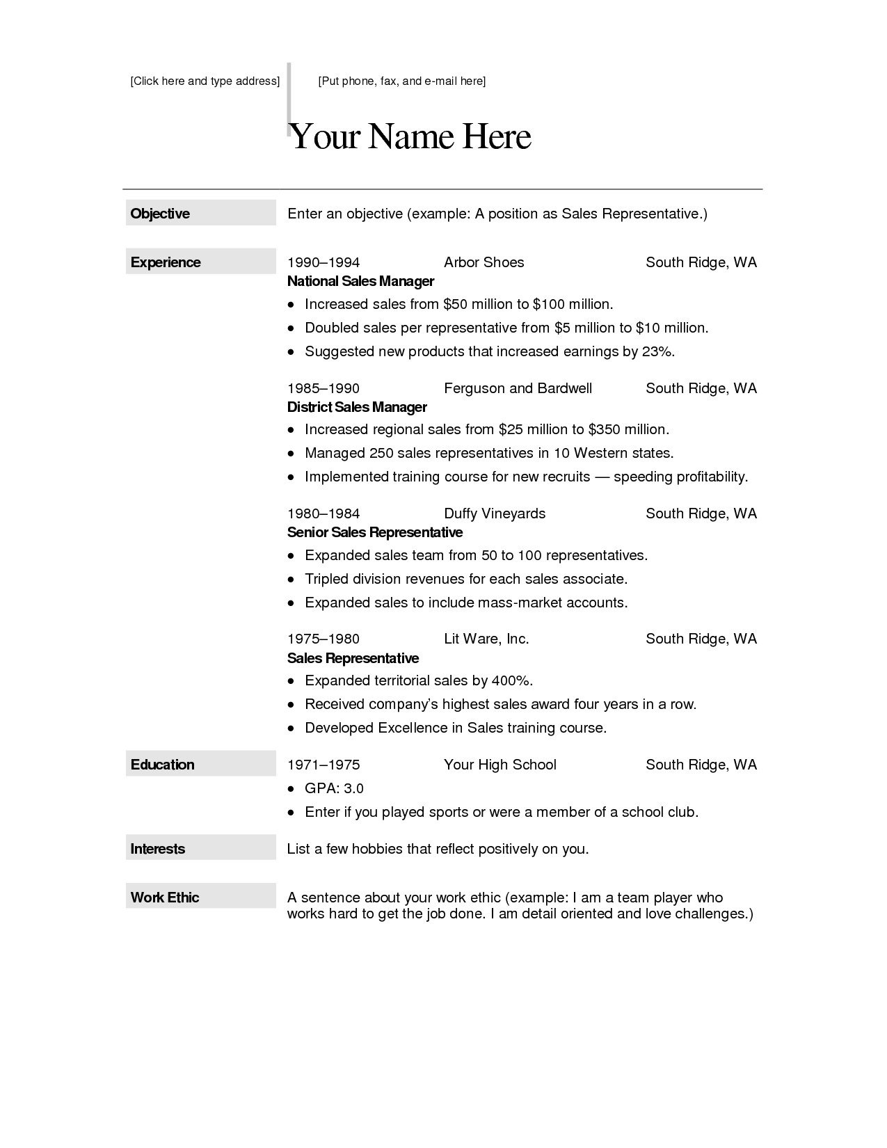 Free Template for Resume Free Downloadable Resume Templates