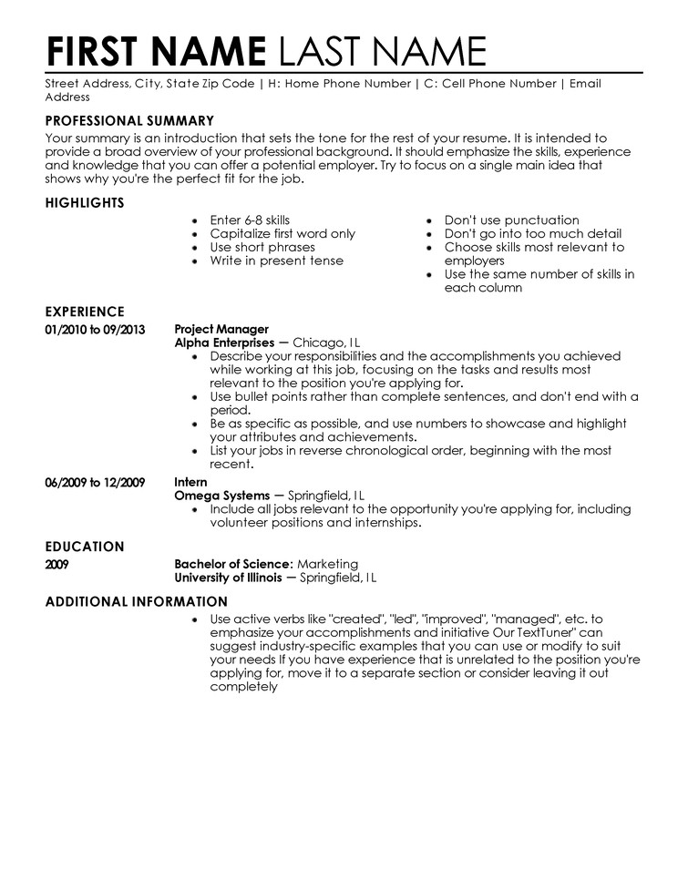 Free Template for Resume Free Professional Resume Templates