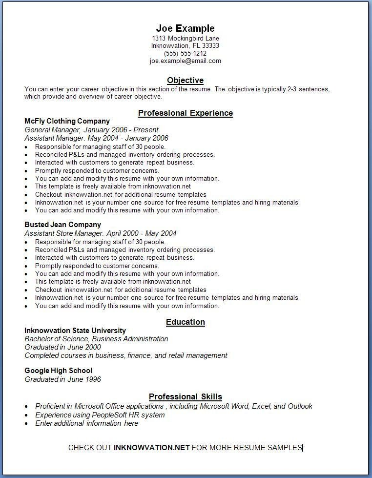 Free Template for Resume Free Resume Samples Line