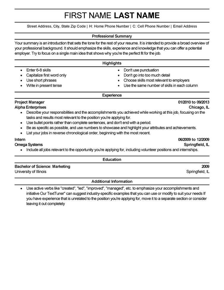 Free Template for Resume Free Resume Templates Fast & Easy