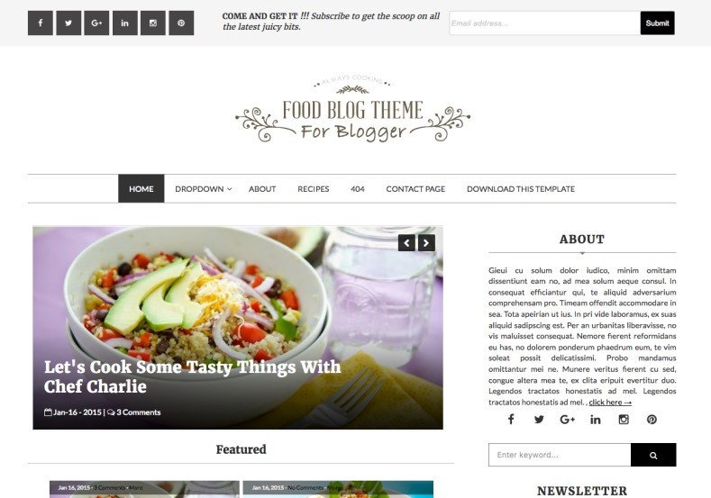 Free Templates for Blogger Food Blog Blogger Template • Templates 2019