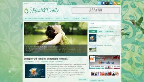 Free Templates for Blogger Healthdaily Blogger Template Btemplates