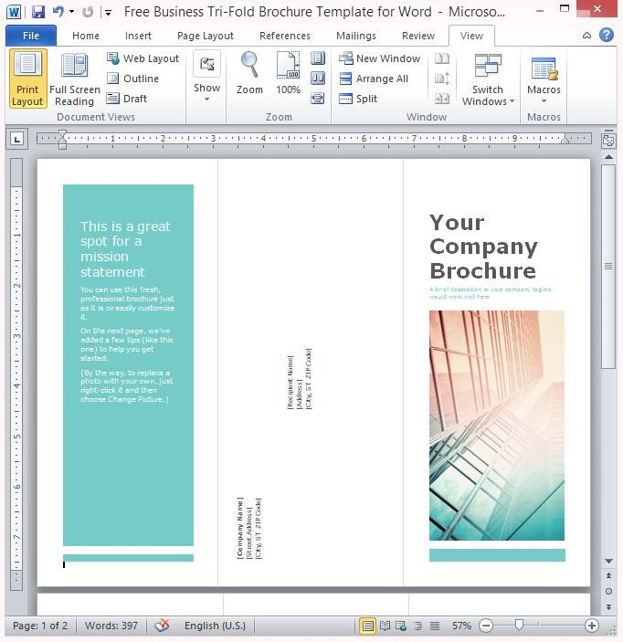 Free Templates for Microsoft Word Free Business Tri Fold Brochure Template for Word