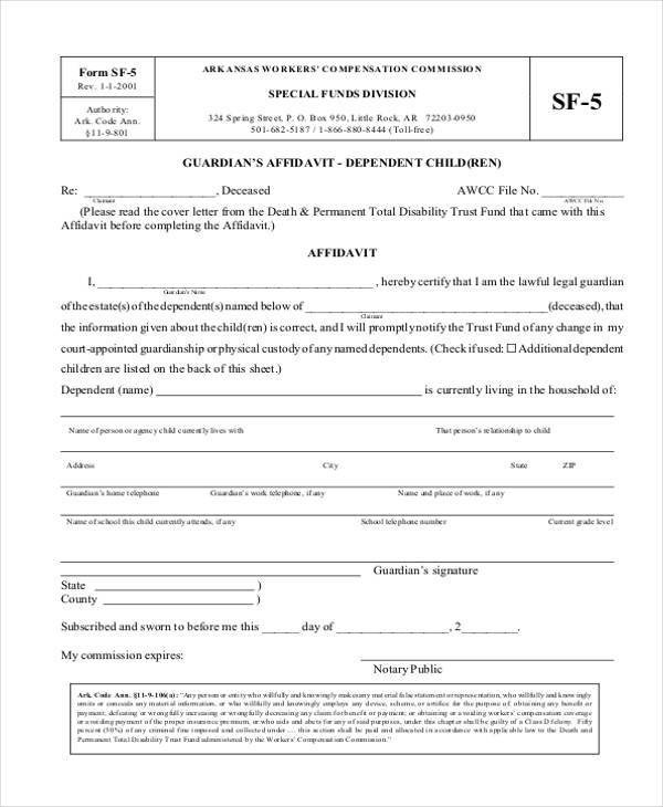 Free Temporary Guardianship form California Sample Guardianship Affidavit forms 8 Free Documents In Pdf