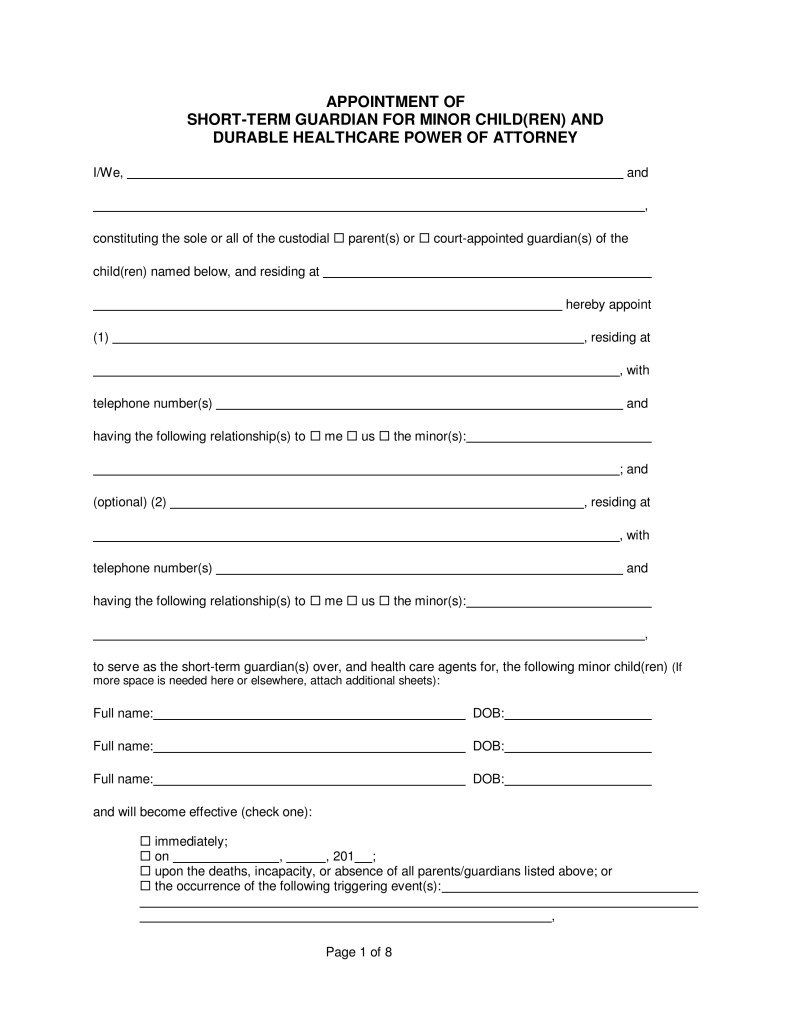 Free Temporary Guardianship form California Temporary Guardianship Agreement form California Fast Free