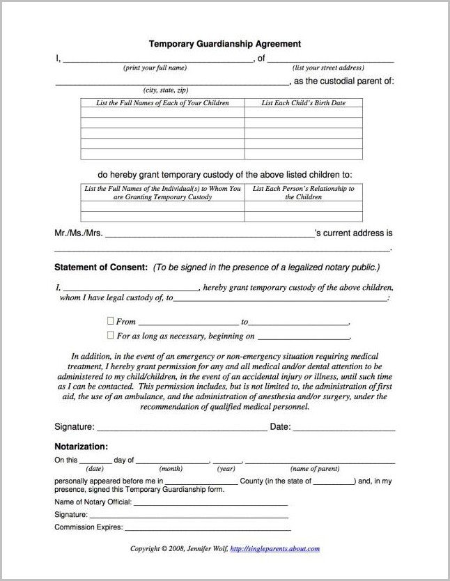Free Temporary Guardianship form California Temporary Guardianship form Mn form Resume Examples
