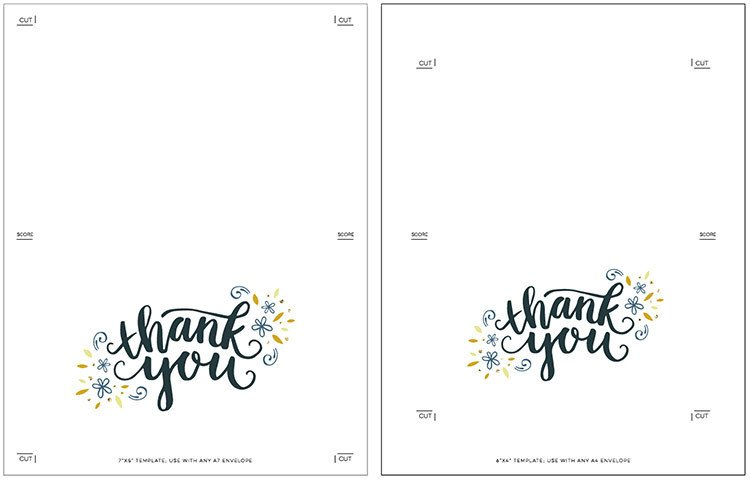 Free Thank You Card Template Freebie Printable Thank You Card