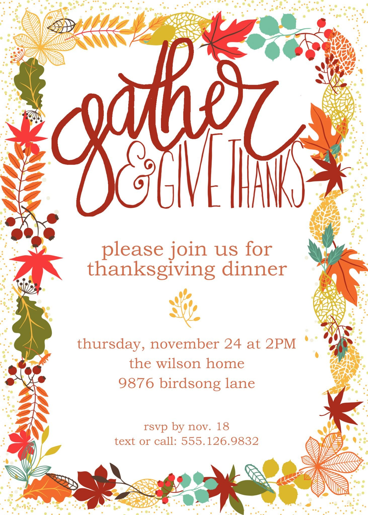 Free Thanksgiving Invitation Templates Customizable Thanksgiving Invitation
