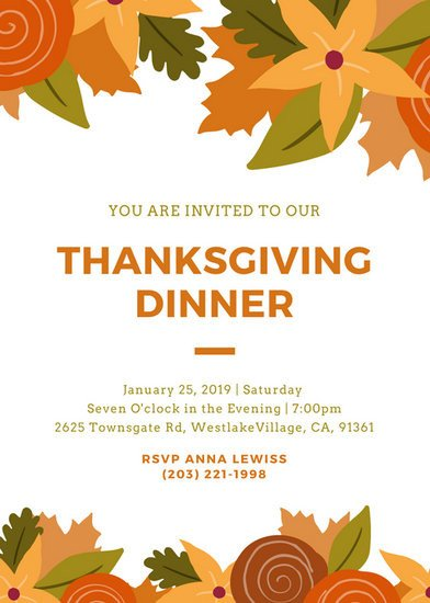 Free Thanksgiving Invitation Templates Customize 108 Thanksgiving Invitation Templates Online