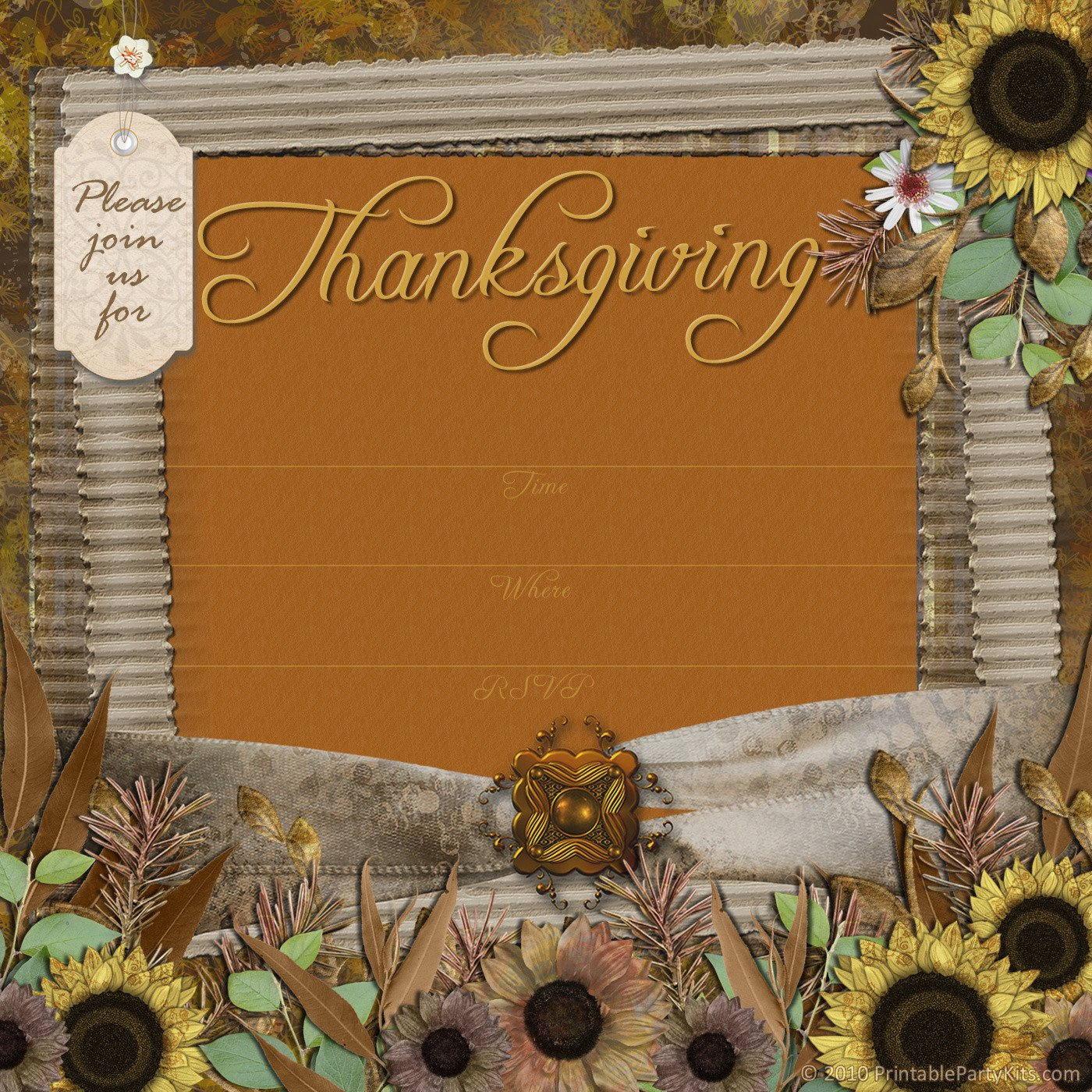 Free Thanksgiving Invitation Templates Free Printable Party Invitations Thanksgiving Dinner