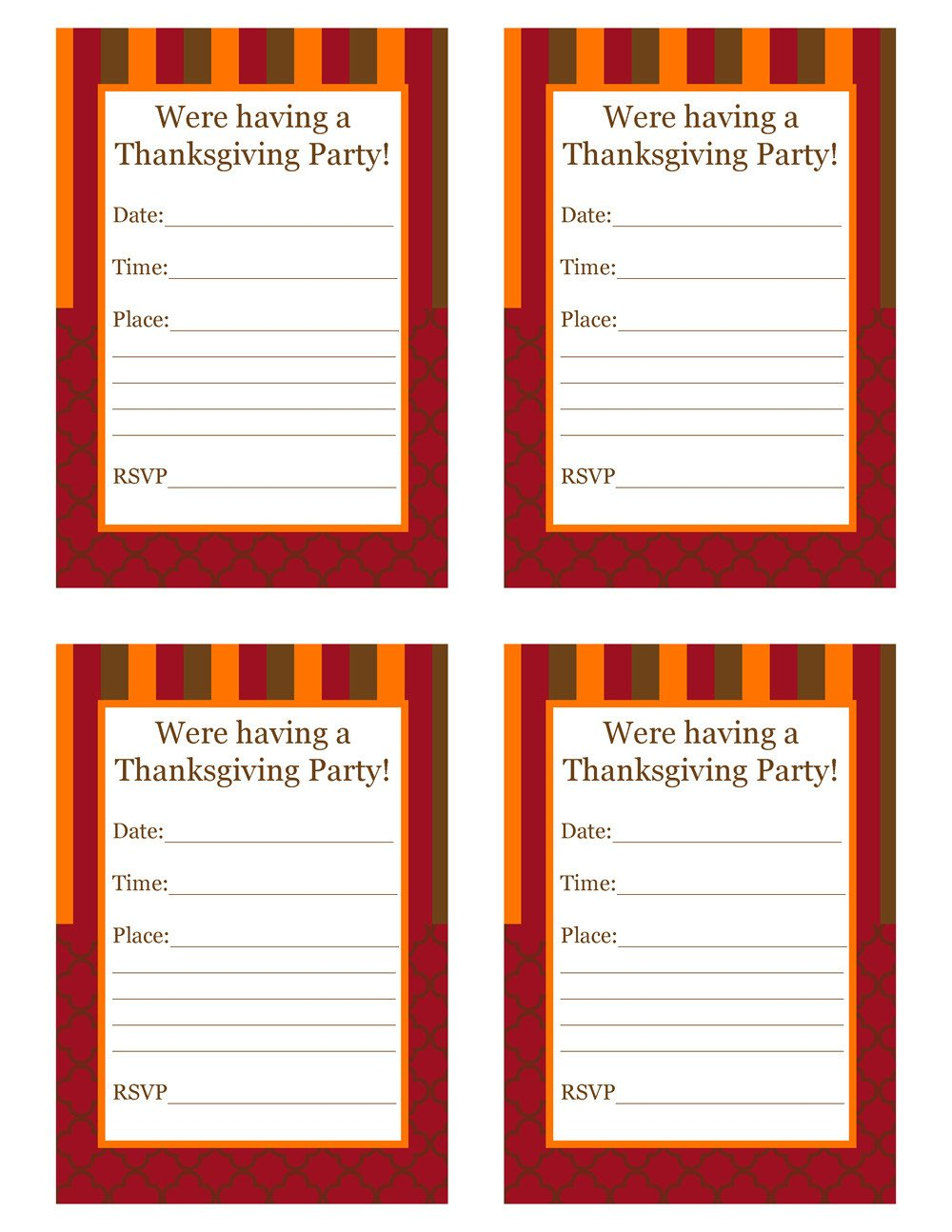 Free Thanksgiving Invitation Templates Free Thanksgiving Party Printables From Cupcake Express