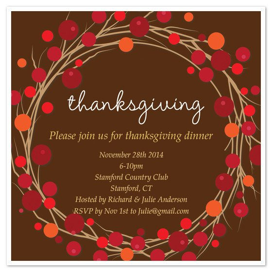 Free Thanksgiving Invitation Templates Thanksgiving Wreath Invite Invitations & Cards On Pingg