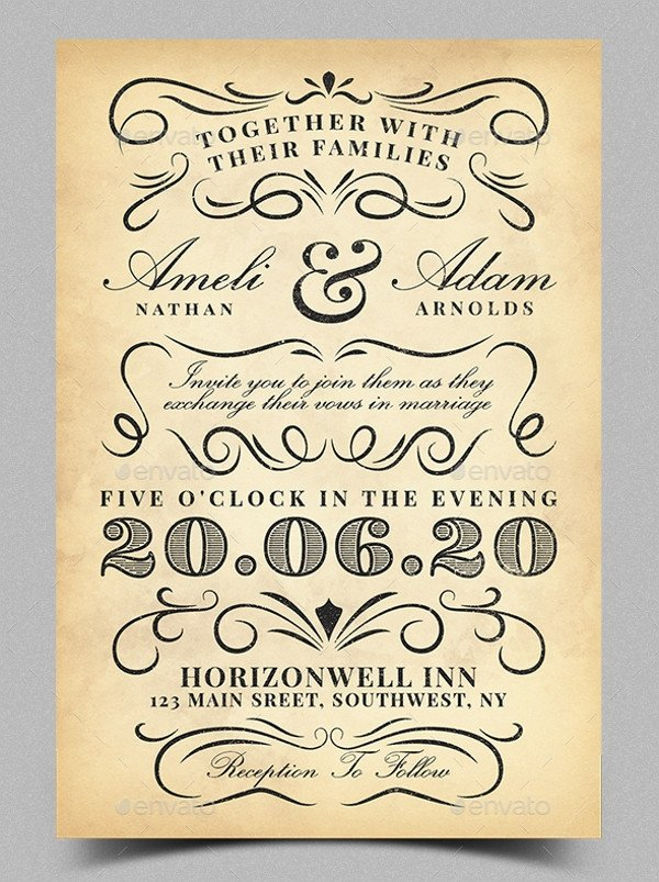 Free Vintage Wedding Invitation Templates 21 Vintage Invitation Templates Free Psd Ai Vector