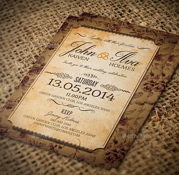 Free Vintage Wedding Invitation Templates 23 Vintage Wedding Invitation Free Psd format Download