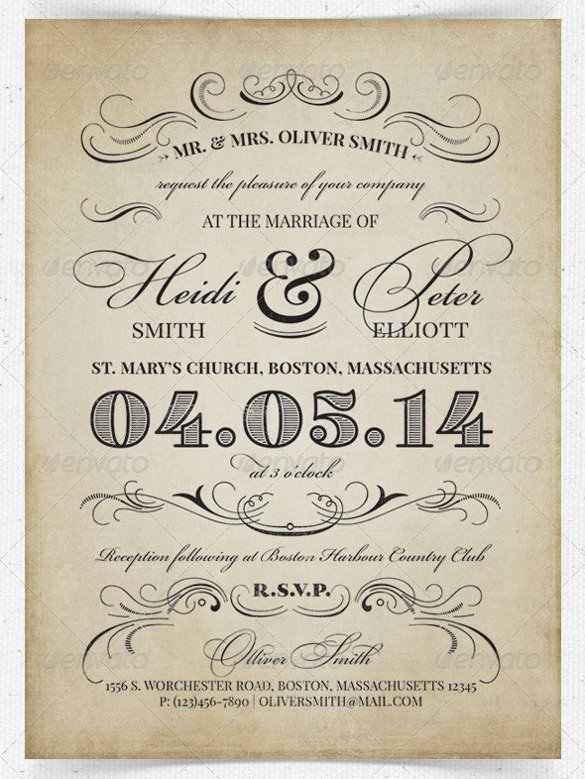 Free Vintage Wedding Invitation Templates 28 Wedding Reception Invitation Templates Free Sample