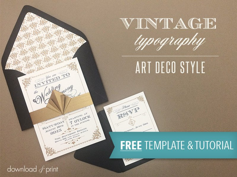 Free Vintage Wedding Invitation Templates Free Template Vintage Wedding Invitation with Art Deco Band