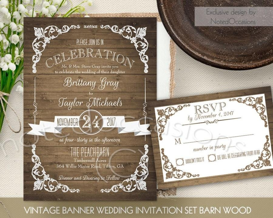 Free Vintage Wedding Invitation Templates Rustic Wedding Invitation Printable Set Country Wedding