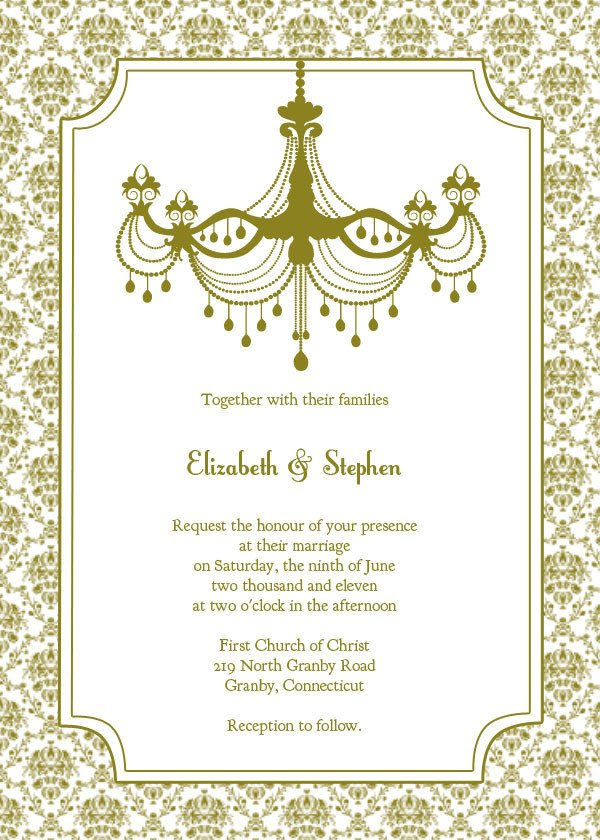 Free Vintage Wedding Invitation Templates Vintage Chandelier Wedding Invitation Template – Free