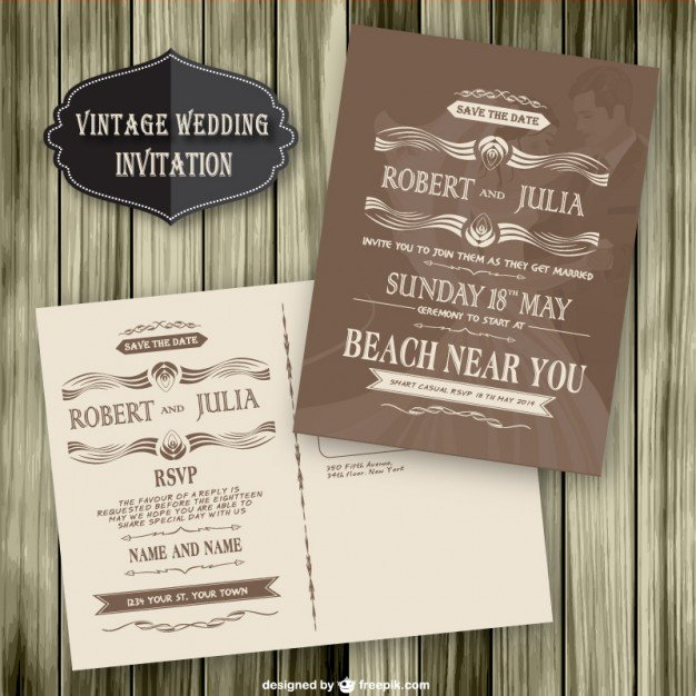 Free Vintage Wedding Invitation Templates Vintage Wedding Invitation Wood Template Vector