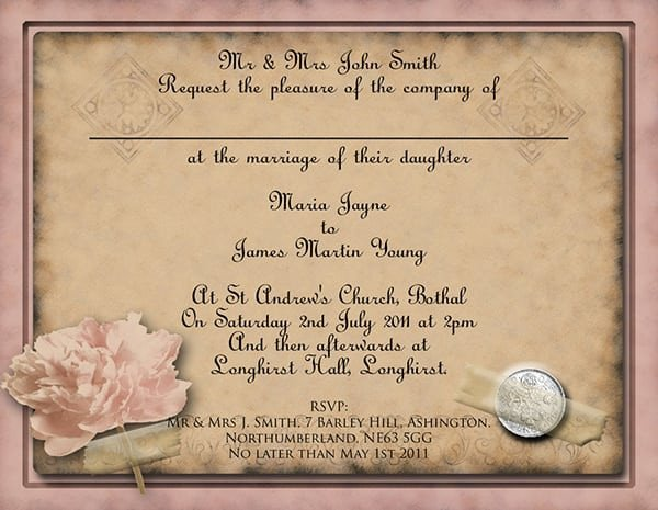 Free Vintage Wedding Invitation Templates Wedding Invitation Vintage Template