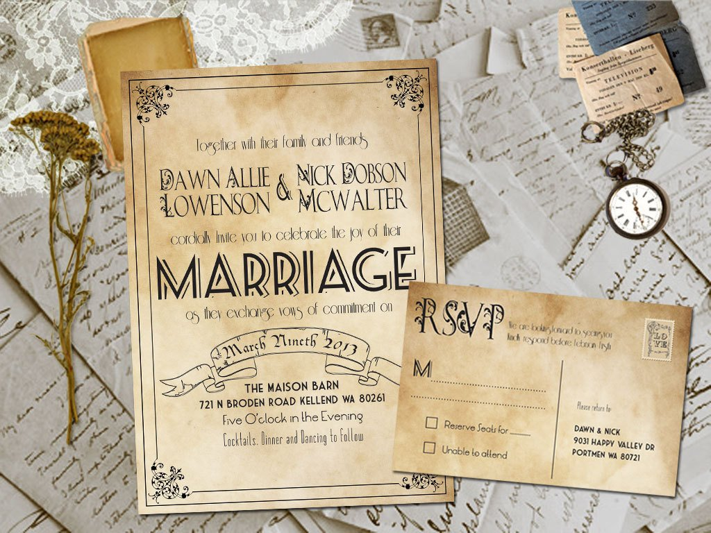 Free Vintage Wedding Invitation Templates Wedding Invite and Rsvp Marvelle Vintage Rustic Personalized