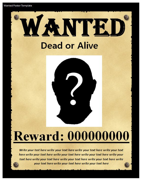 Free Wanted Poster Template Printable Wanted Poster Template 20 Download Documents In Psd